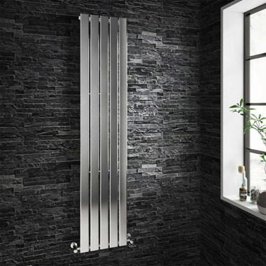 Brenton Moti Chrome Vertical Flat Panel Designer Radiator  - H1800 x W376mm