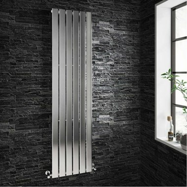 Brenton Moti Chrome Vertical Flat Panel Designer Radiator  - H1800 x W452mm