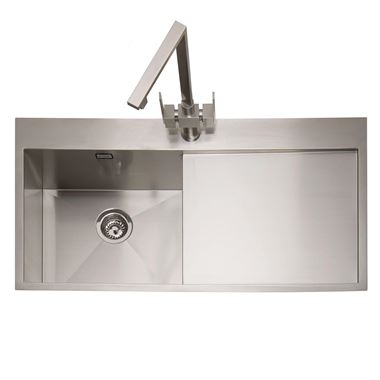 Caple Cubit 1 Bowl Satin Stainless Steel Sink & Waste Kit with Right Hand Drainer - 1000 x 520mm