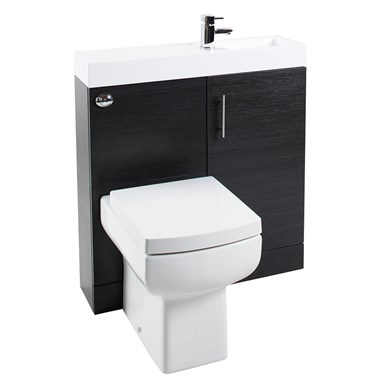 Cube Plus Compact 800mm Wide Combined Basin & Toilet Unit - Black Ash