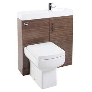 Cube Plus Compact 800mm Wide Combined Basin & Toilet Unit - Walnut
