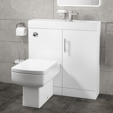 Cube Plus Compact 800mm Wide Combined Basin & Toilet Unit - White Gloss