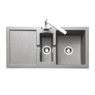 Rangemaster Cubix 1.5 Bowl Neo-Rock Grey Sink & Waste Kit with Reversible Drainer - 985 x 508mm