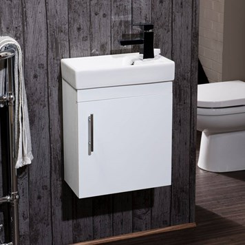 Compact 400mm Wall Hung Vanity Unit and Basin - White