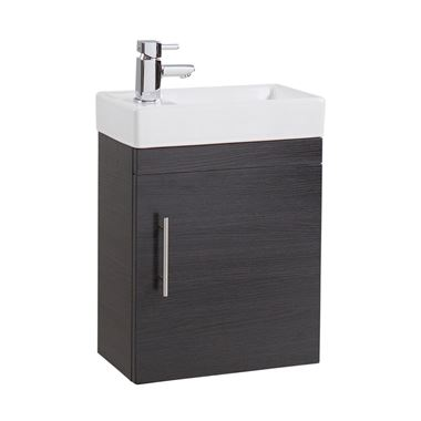 Compact 400mm Wall Hung Vanity Unit and Basin - Black Ash