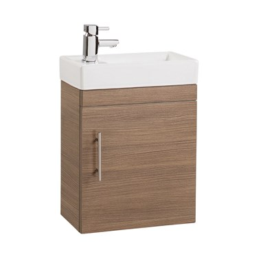 Compact 400mm Wall Hung Vanity Unit and Basin - Mediuim Oak