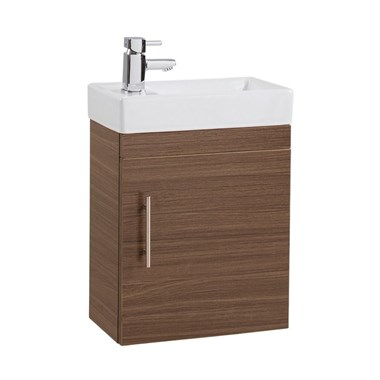 Compact 400mm Wall Hung Vanity Unit and Basin - Walnut