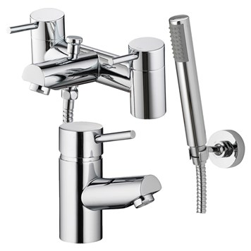 Vellamo Curvo Basin Mixer & Bath Shower Mixer Pack