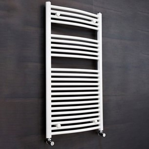 Brenton White Curved Heated Towel Radiator - 19mm - 1200 x 400mm