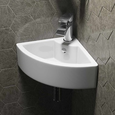 Corner Cloakroom Countertop Basin - One Tap Hole