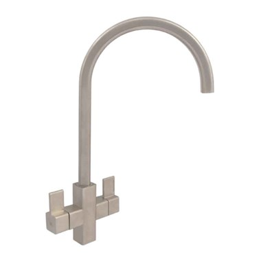 Clearwater Cherika Twin Lever Mono Kitchen Mixer - Brushed Nickel