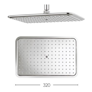 Crosswater Essence High Density ABS 320x210mm Fixed Shower Head Only