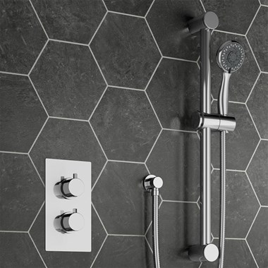 Drench Dahlia Concealed Thermostatic Shower Valve & Slide Rail Kit