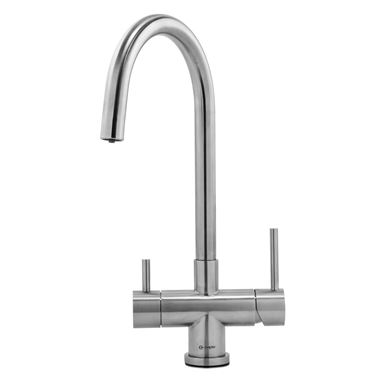 Caple Dalton Puriti Twin Lever Mono Kitchen Mixer & Cold Filtered Water Tap - Stainless Steel