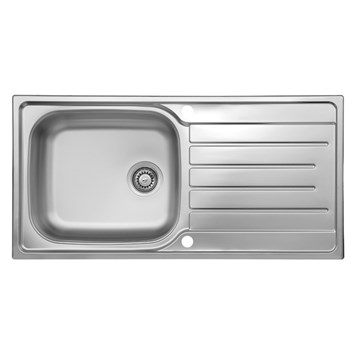 Reginox Daytona 1 Bowl Polished Stainless Steel Sink & Waste Kit with Reversible Drainer - 1000 x 500mm
