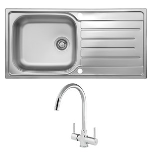 Reginox Daytona 1 Bowl Stainless Steel Sink with Waste Kit & Thames Polished Chrome Mono Kitchen Mixer