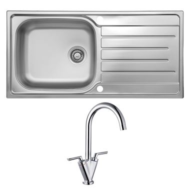 Reginox Daytona 1 Bowl Stainless Steel Sink with Waste Kit & Vellamo Twist Chrome Mono Kitchen Mixer