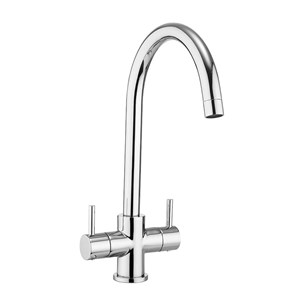 Crosswater Cucina Design Twin Lever Mono Kitchen Mixer with 'C' Spout - Chrome