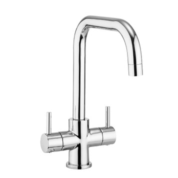 Crosswater Cucina Design Twin Lever Mono Kitchen Mixer with 'U' Spout - Chrome