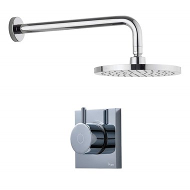 Crosswater Digital MPRO Shower Set with Thermostatic Shower Valve, Fixed Shower Head & Shower Arm for High Pressure