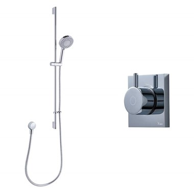 Crosswater Digital MPRO Shower Set with Thermostatic Shower Valve, Slide Rail Kit & Round Outlet Elbow
