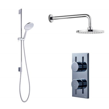 Crosswater Digital MPRO Shower Set with Thermostatic Shower Valve, Slide Rail Kit, Fixed Head & Wall Arm