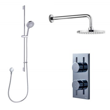 Crosswater Digital MPRO Shower Set with Thermostatic Shower Valve, Slide Rail Kit, Round Outlet Elbow, Fixed Head & Wall Arm