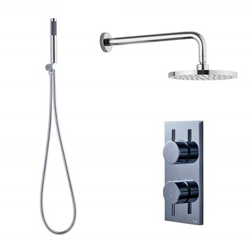 Crosswater Digital MPRO Shower Set with Thermostatic Shower Valve, Mini Shower Kit, Fixed Shower Head & Shower Arm