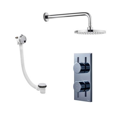 Crosswater Digital MPRO Shower Set with Thermostatic Shower Valve, Overflow Bath Filler, Fixed Shower Head & Wall Arm