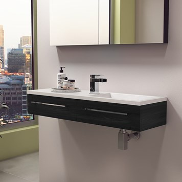 Vellamo City Black Ash Wall Hung Basin Vanity Unit