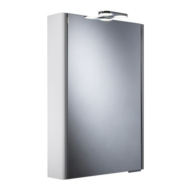 Roper Rhodes Phase Gloss White LED Illuminated Single Mirror Glass Door Cabinet