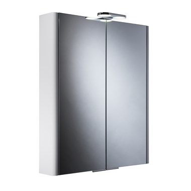 Roper Rhodes Entity Gloss White LED Illuminated Double Mirror Glass Door Cabinet