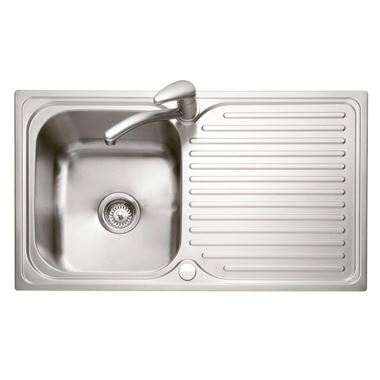 Caple Dove 1 Bowl Satin Stainless Steel Sink & Waste Kit with Reversible Drainer - 860 x 500mm