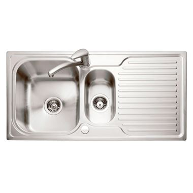 Caple Dove 1.5 Bowl Satin Stainless Steel Sink & Waste Kit with Reversible Drainer - 1000 x 500mm