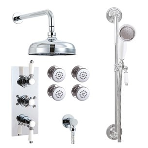 Phoenix Doccia Traditional Triple Function Thermostatic Shower Valve with Shower Kit & Body Jets