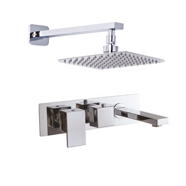 Phoenix Thermostatic Wall Mounted Shower Valve with Bath Spout and 200mm Fixed Square Shower Head