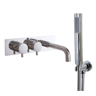 Phoenix Thermostatic Wall Mounted Shower Valve with Bath Spout and Hand Held Round Shower Handset & Bracket