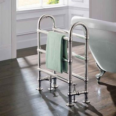 DQ Heating Hilborough Luxury Traditional Heated Towel Rail Radiator - Chrome - 1028 X 837mm