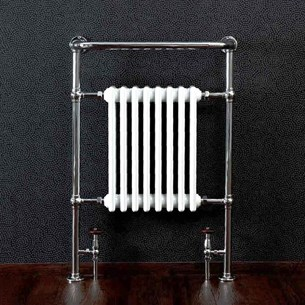 DQ Heating Lynford Floor Mounted Traditional Heated Towel Rail - 952 x 500mm - Polished Nickel
