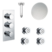 Drench Addison Concealed Shower Valve, Fixed Shower Head & Body Jets - 300mm Arm