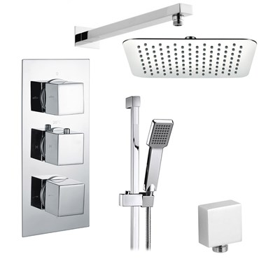 Drench Drew Square Concealed Shower Valve with Fixed Head & Slide Rail Kit