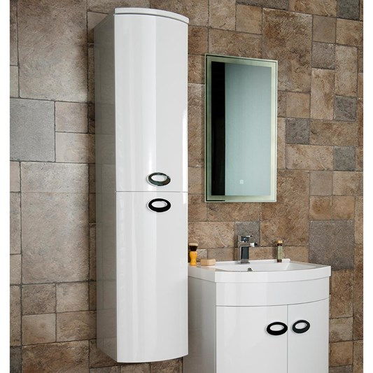 Drench Lorraine Gloss White Wall Hung Tall Bathroom Cabinet