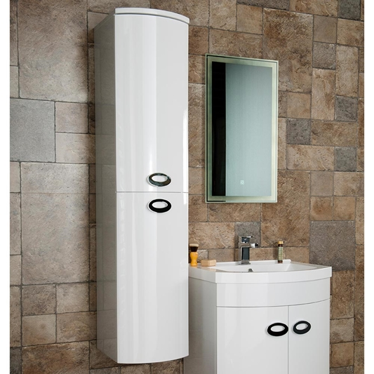 Drench Lorraine Gloss White Wall Hung, Bathroom Tall Cabinets