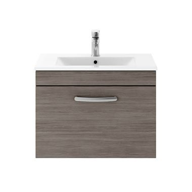 Drench Emily 600mm Wall Mounted 1 Drawer Vanity Unit & Minimalist Basin - Grey Avola