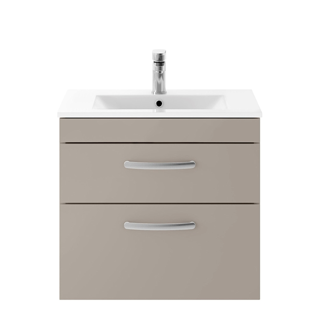 Drench Emily 600mm Wall Mounted 2 Drawer Vanity Unit & Basin - Matt Stone Grey