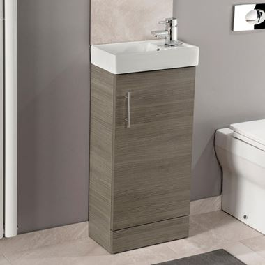 Drench Maisie 400mm Cloakroom Vanity Unit With Basin - Medium Oak