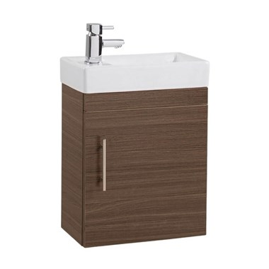 Drench Maisie 400mm Wall Hung Vanity Unit and Basin - Walnut