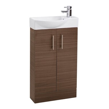 Drench Maisie 500mm Double Door Cloakroom Vanity Unit and Basin - Walnut