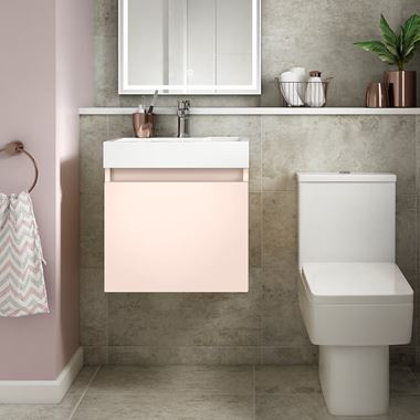 Drench Minnie 500mm Wall Mounted 1 Door Vanity Unit & Polymarble Basin - Pink Blush