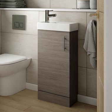 Drench Minnie 400mm Floorstanding Cloakroom Vanity Unit & Basin - Grey Avola